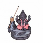Oanik Ganesh Monk Smoke Backflow Cone Incense Holder with 10 Scented Cone Incenses (Pink)