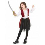 Disfraz pirata rojo y tutú negro niña 6-7 años (116/122)