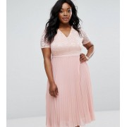 Truly You Lace Bodice Skater Dress With Pleated Skirt - Blush