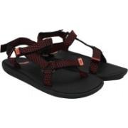 Puma Women black-high risk red-steel gray Sports Sandals
