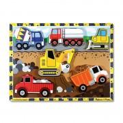 Puzzle lemn in relief Utilaje pentru constructii Melissa and Doug, 30 x 23 cm