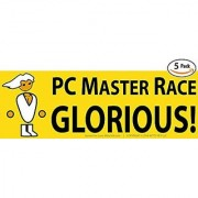 Glorious PC Master Race Bumper Sticker 5 Pack for Your Battlestation Laptop Computer Case Wall & Window. Supports Childs Play Video Gaming Charity. Great Gift for a Proud Gamer Geek or Nerd.