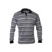 Pique Poloshhirt mit Knopfleiste, Farbe schwarz/gestreift, Gr.XL
