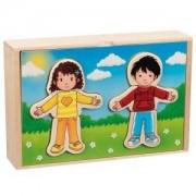 Дървен пъзел Момче и момиче за обличане в дървена кутия Goki, 871541