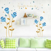 Wall Sticker,Blue Flower Wall Decals Romantic Sticker House Decoration Wallpaper For Office Living Bed Room Study TV Wall By JiazuGo (Blue Flowers)