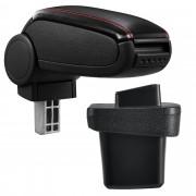 PremiumXL - [pro.tec] Naslon za ruke – specifičan za Volkswagen Golf 7 - naslon za ruke za auto - sa pretincem - umjetna koža - crno, sa crvenim šavovimal