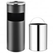vidaXL Хотелски кош-пепелник, 30 л, стомана, сив