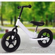 "K&A Company 12"" Kids No Pedal Bike with Adjustable Seat Children Balance Bikes New Outdoor Sports Age 2-7 White"