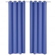 vidaXL 2 db kék sötétítőfüggöny fém függönykarikákkal 135 x 175 cm