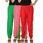 Culture the Dignity Women's Rayon Solid Casual Pants Office Trousers With Side Pockets Combo of 3 - Green - Baby Pink - Red - C_RPT_GP2R - Pack of 3 - Free Size
