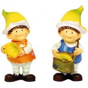Wonderland 3.5 inches Set of 2 Bonsai Decoration Mini Fruit Boys with Banana (terrarium home garden decor gifting)