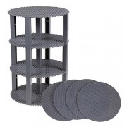 Strictly Briks 8-Inch Circle Stackable Base Plates, Gray (Pack of 4 Baseplate)
