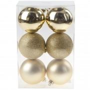 Cosy & Trendy 6x Gouden kerstballen 8 cm kunststof mat/glans/glitter