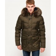 Superdry Longline Down Chinook Parka Jacket Green