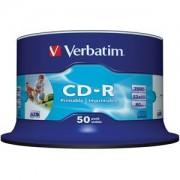 CD-R Verbatim Crystal / Super AZO 80min./700mb 52X (Printable) - 50 бр. в шпиндел