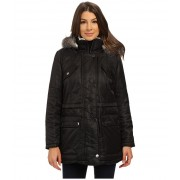 Kenneth Cole New York Hooded Parka with Faux Fur Trim amp Sherpa Lining Black