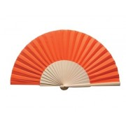 Orange Fabric & Wooden Fan