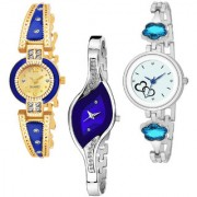Varni Retail Gblue Round Diamond Leaf Blue Dial And Round Hart Print Dial 3 Combo Watch For Girls