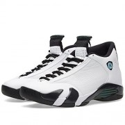 Nike Air Jordan 14 Retro BG - B, Boys Basketball Shoes, WHITE/ BLACK- OXIDIZED/ GREEN-LEGEND BLUE, 5Y M US