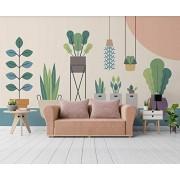 MIWEI Wallpaper Papel Pintado Pared Plantas Verdes Pintadas A Mano Fotomural 3D Mural Pared Moderno Wallpaper