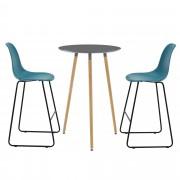 [en.casa]® Комплект кръгла дизайнерска бар маса с 2 стола, Тъмносив/Тюркоазен
