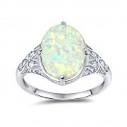 Silvego Stříbrný prsten MONIQUE s bílým opálem - TXR300554