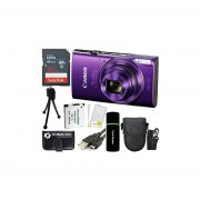 Canon PowerShot ELPH 360 HS 20.2MP 12x Zoom Full-HD 1080p Wi-Fi Digital Camera (Purple) + SanDisk 32GB Card + Reader + Spare Battery + Case + Accessory Bundle