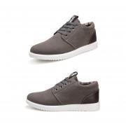 Zapatos Casuales Para Hombre Respirable Estilo De Inglaterra De Moda Zapatos Deportivos-Gris