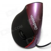 Wowpen-joy Diseno ergonomico USB 2.0 optico LED Vertical 1600dpi Mouse-Negro + Violeta