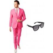 Roze heren kostuum / pak - maat 52 (XL) met gratis zonnebril