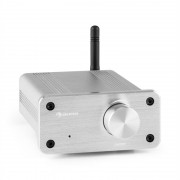 auna BT-Bro Mini Stereo Amplificador Classe-D Bluetooth em alumínio prateado