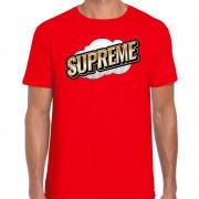 Bellatio Decorations Supreme fun tekst t-shirt voor heren rood in 3D effect