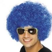 Pruik afro of clown luxe blauw