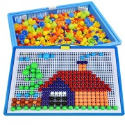 296 pcs Mushroom Nails Peg Art Kids Puzzle Creative Arts And Crafts Pegboard Toy for Girl Boy Fun Mosaic Educational Learning Toys for Kids Birthday Holiday Christmas Toy Gift