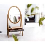 DELIFE Designer-Standspiegel Stonegrace 160x77 Akazie Natur Schublade