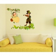 Wall Stickers Kids Room Baby Girl Swinging In Garden With Boy Playing Violin Nursery Room Theme Decor