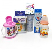 Combo Set of 3 Baby Feeding Bottle 150ml Print 250ml Spoon Bottle and Smart Cup Sipper