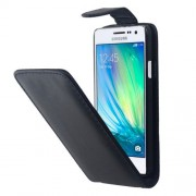 Vertical Flip Magnetic Button Leather Case for Samsung Galaxy A7 / A700F(Black)