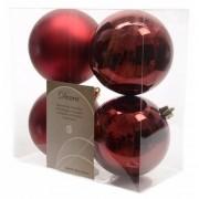 Merkloos Kerstboom decoratie kerstballen 10 cm mix donker rood 8 stuks