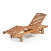 Scaun reglabil de lux cu masuta HECHT RESORT A LOUNGER, lemn