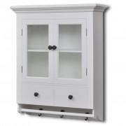 vidaXL Кухненски дървен шкаф със стъклена врата, бял