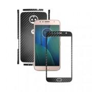 1 + 1 GRATUIT - Motorola Moto G5S Plus - Carbon Negru - Folie de protectie Carbon Skinz Husa Full Body Cover de tip Skin Adeziv pentru