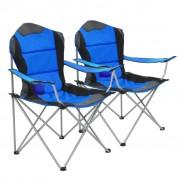 vidaXL Сгъваеми къмпинг столове, 2 бр, 96x60x102 см, сини