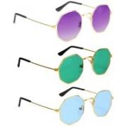 SRPM Aviator Sunglasses(Violet, Green, Blue)