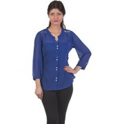 Gabby Women's Blue Solid Shirt Collar Georgette 3/4th Sleeves Regular Shirts