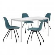 [en.casa]® Комплект маса за хранене с 4 стола 140 x 60 cm Liverpool, Бял/Тюркоазен
