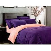 Lenjerie de pat dublu din bumbac satinat de calitate cu 4 piese Textilis in culoarea Mov UNI / Corai UNI