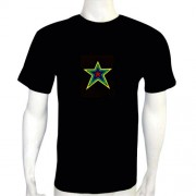 LED Electro Luminescence Star Shaped Sound-Activated Funny Dancing New T Shirt Black 12003