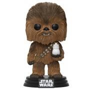 Funko POP! Vinyl Star Wars - Chewbacca with Porg Flocked