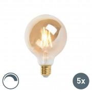LUEDD Set of 5 E27 LED G95 Filament 5W 360LM 2200K Dimmable